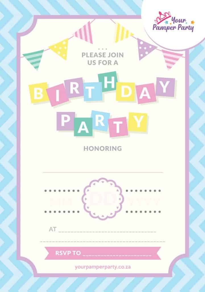 Pamper Parties Invitations